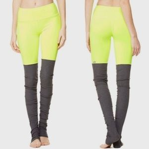 Alo Goddess Leggings Neon Yellow Gray